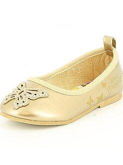 Zapatos niña - Manoletinas de piel sintética dorada 'Princesas Disney'