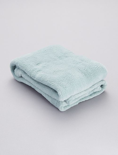 Manta lisa en tejido polar                                                                 azul gris
