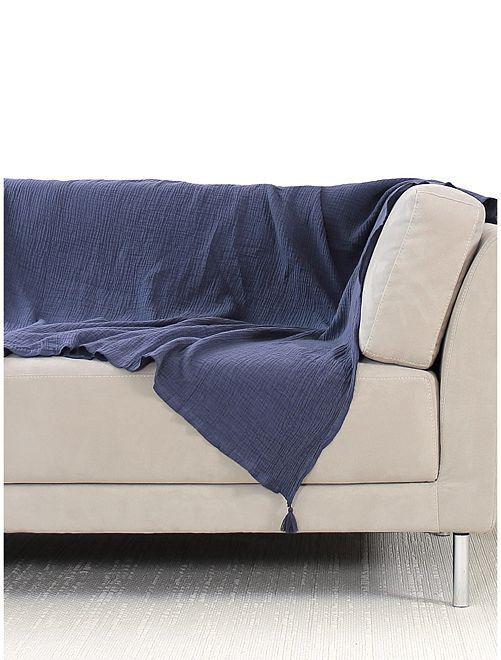 Manta para sofá de gasa de algodón                                         azul marino
