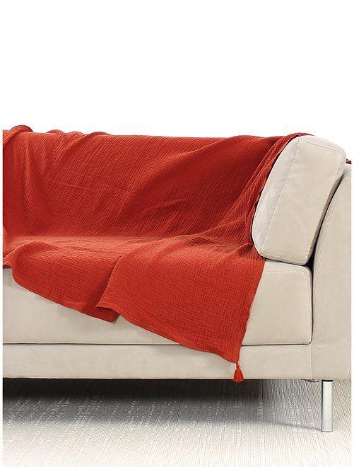 Manta para sofá de gasa de algodón                                         NARANJA
