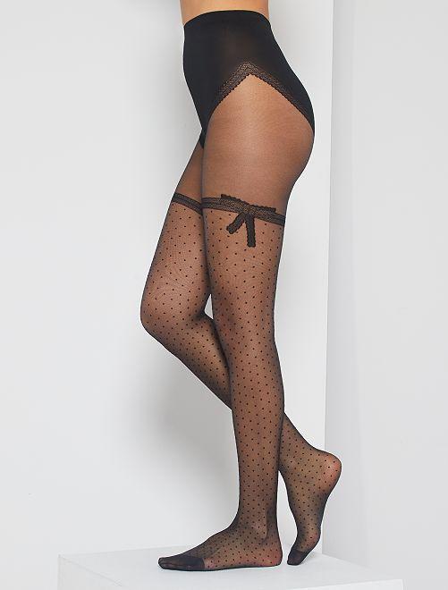 Medias negras sexy lazo de encaje 'Dim'                             negro