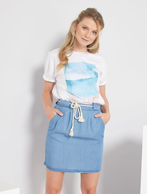 Minifalda de lyocell                                         AZUL