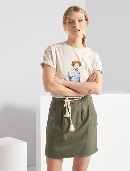 Minifalda de lyocell                                         KAKI