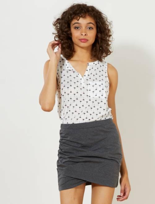 Minifalda de tubo elástica de efecto drapeado                     GRIS Mujer talla 34 a 48