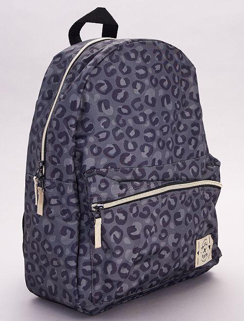 mochila estampada 'leopardo'                             gris