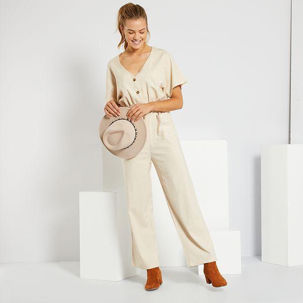 Mono Pantalon Con Lino Mujer Talla 34 A 48 Beige Kiabi 12 00
