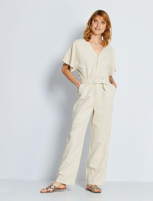 Mono pantalón de algodón y lino                                         BEIGE