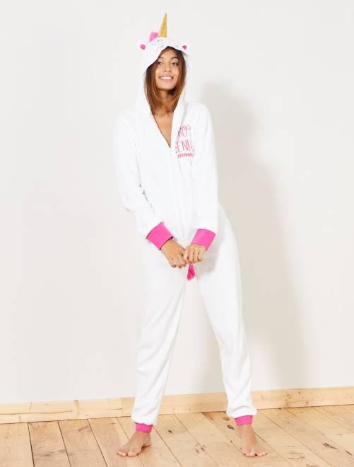 Mono pijama de unicornio                             BLANCO Lencería de la s a la xxl