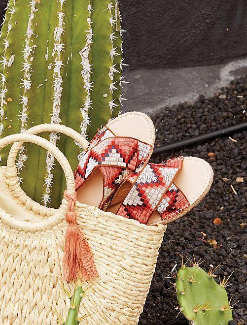 Mules étnicas bordadas                             rojo Zapatos