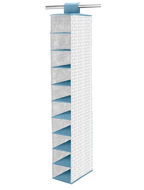 Organizador de tela para para zapatos con 10 huecos                                                     blanco/azul