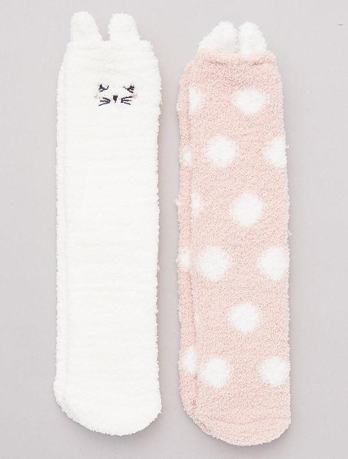 Pack 2 pares de calcetines cálidos                     rosa