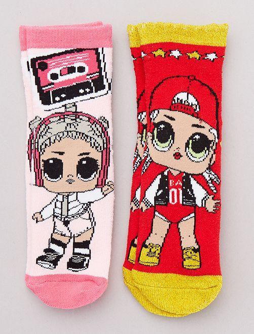 Pack 2 pares de calcetines 'LOL'                             dorado