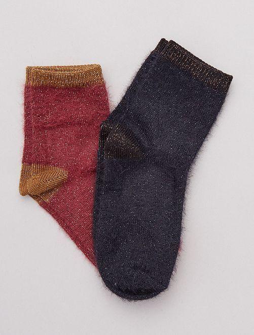 Pack 2 pares de calcetines pelo y lúrex                                         burdeos