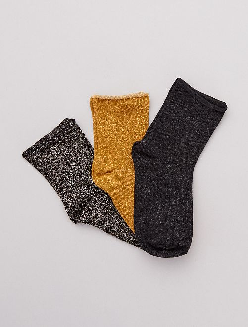 Pack 3 pares de calcetines lúrex                                                     AMARILLO