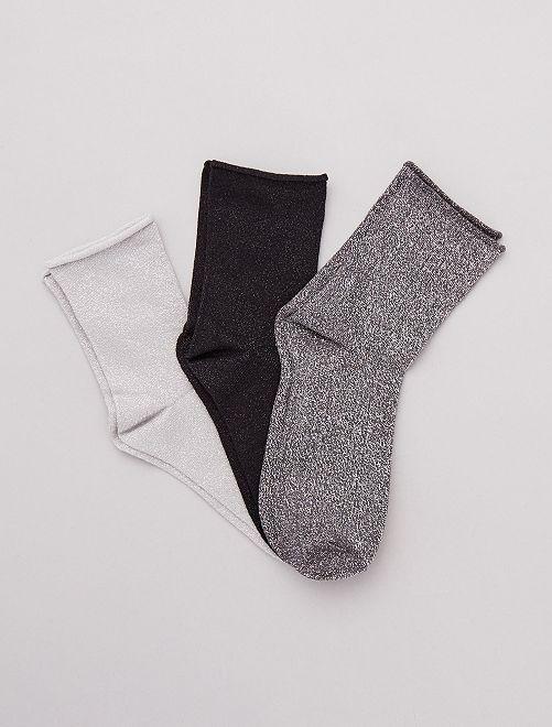 Pack 3 pares de calcetines lúrex                                                     gris