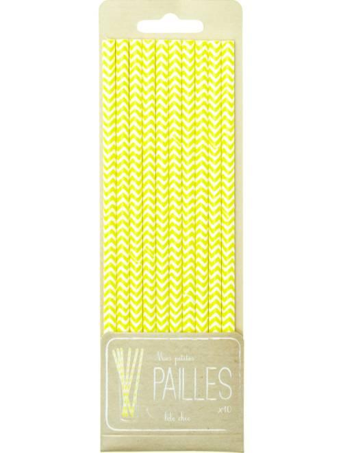Pack de 10 pajitas con estampado de fantasía                                 amarillo