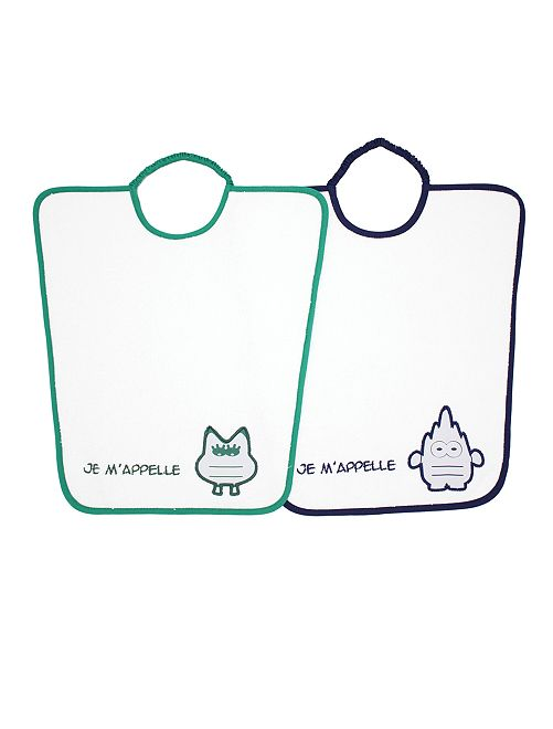 Pack de 2 baberos con cuello elástico                                         verde/azul