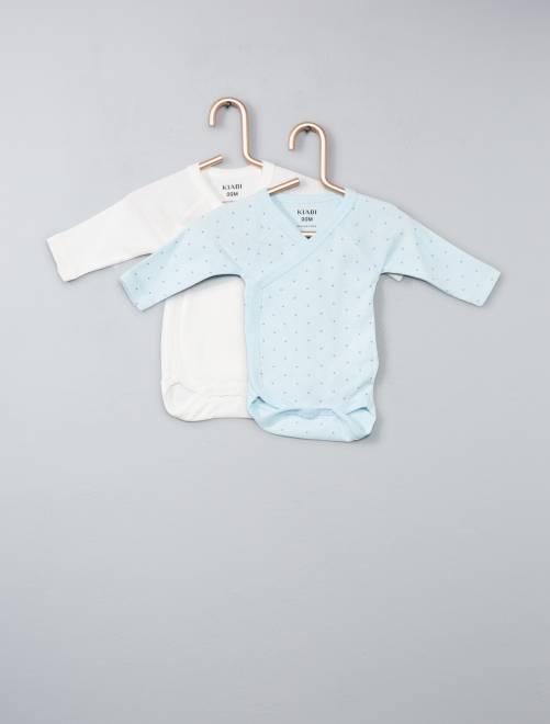 Pack de 2 bodies de algodón orgánico puro                                                                             azul Bebé niño