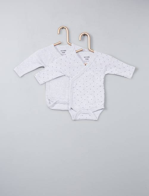 Pack de 2 bodies de algodón orgánico puro                                                                                         gris