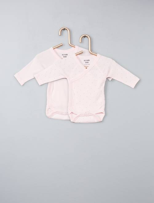 Pack de 2 bodies de algodón orgánico puro                                                                             rosa Bebé niña