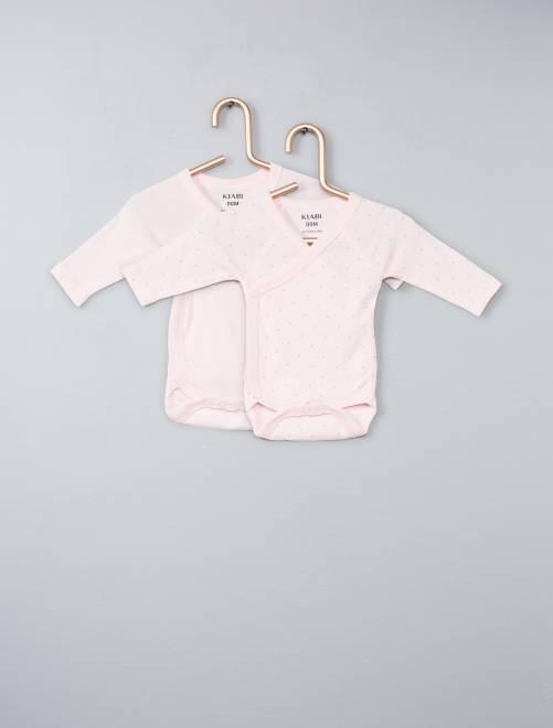 Pack de 2 bodies de algodón orgánico puro                                                                 rosa