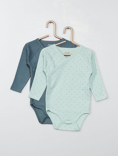 Pack de 2 bodies de algodón orgánico puro                                                                                         VERDE Bebé niño