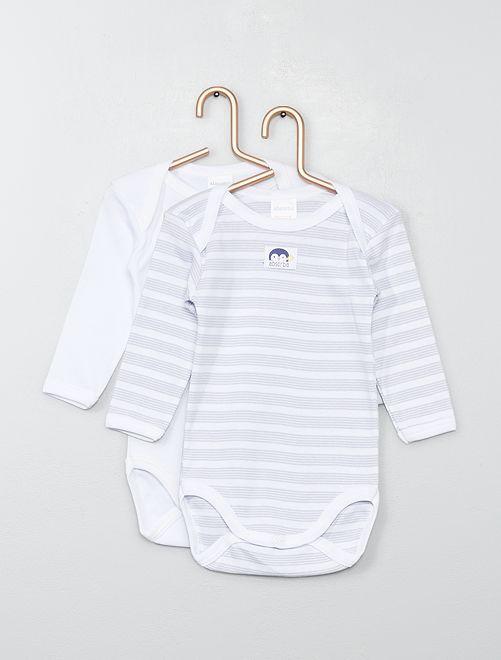 Pack de 2 bodis 'Absorba'                             blanco/gris Bebé niña