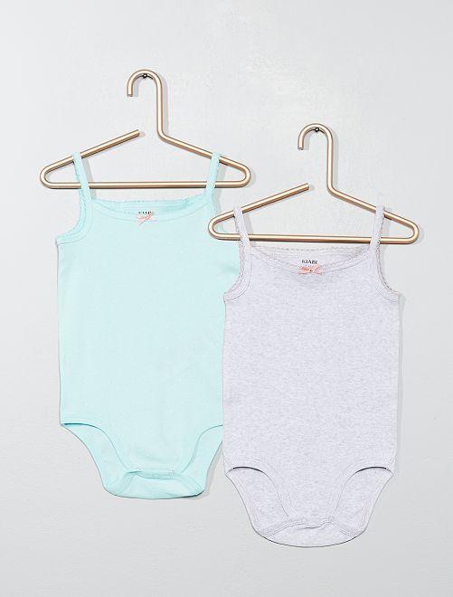 Pack de 2 bodis de algodón puro                                         AZUL Bebé niña