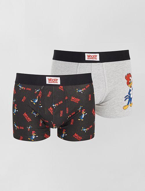 Pack de 2 boxers 'Pájaro Loco'                             GRIS