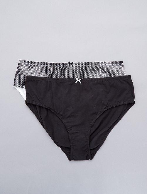 Pack de 2 braguitas de algodón                                         negro Lencería de la s a la xxl