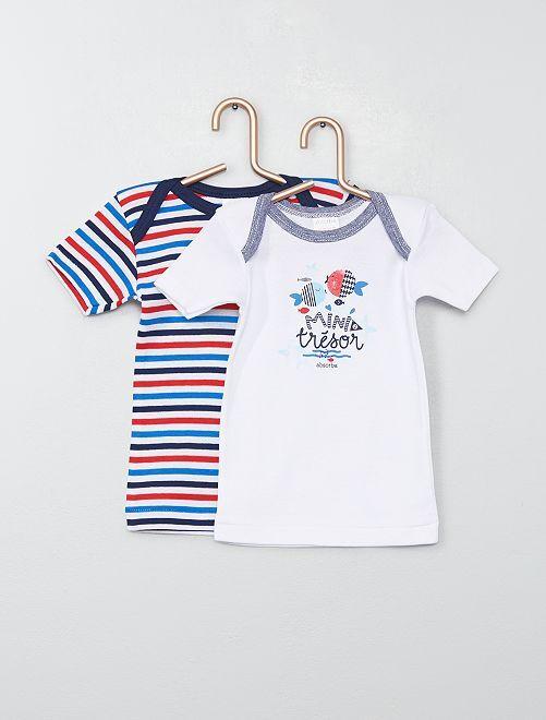 Pack de 2 camisetas 'Absorba' temática marinera                             BLANCO