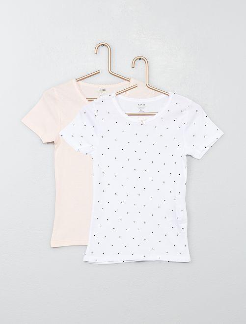 Pack de 2 camisetas de algodón puro                             ROSA