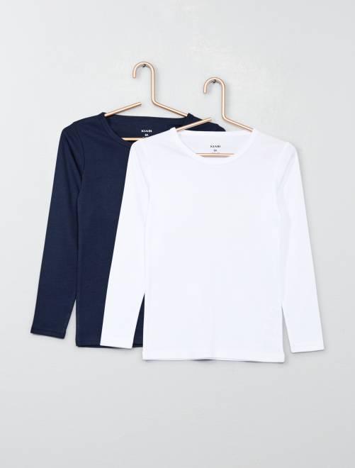 Pack de 2 camisetas de manga larga                             azul marino/blanco Chico