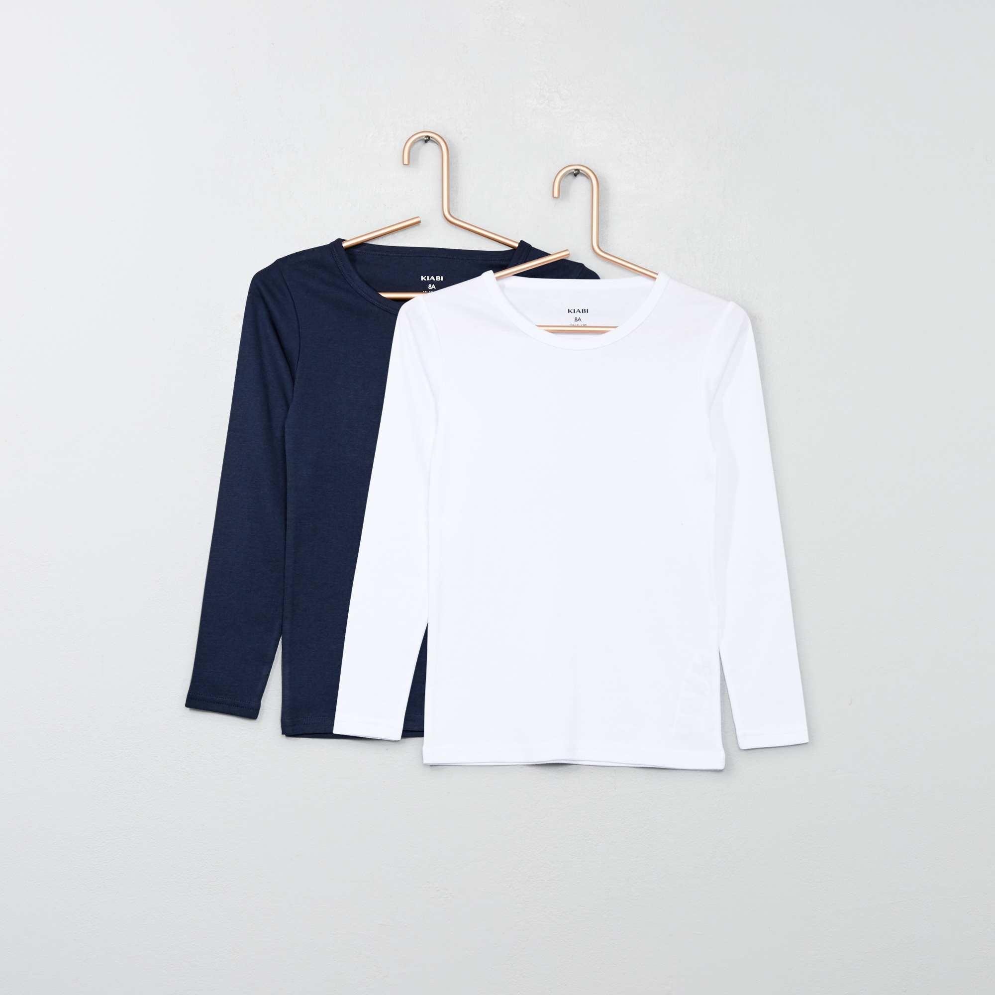 a8f1cb04ae2 Pack de 2 camisetas de manga larga azul marino blanco Chico. Loading zoom