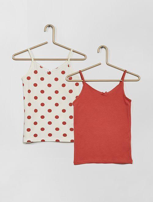 Pack de 2 camisetas de tirantes de algodón elástico                                                                                                     BLANCO