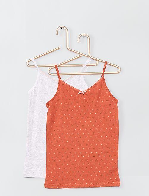 Pack de 2 camisetas de tirantes de algodón elástico                                             NARANJA