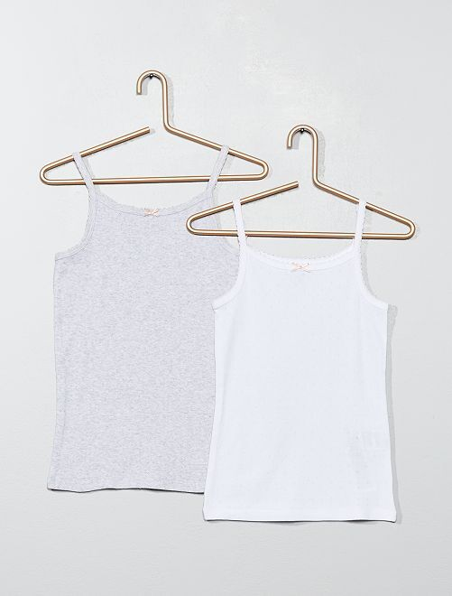 Pack de 2 camisetas de tirantes de algodón orgánico                             BLANCO Chica