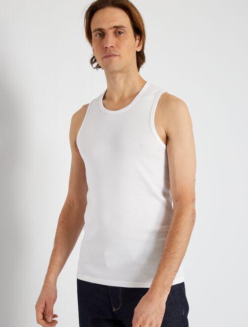 Pack de 2 camisetas de tirantes de algodón orgánico                             blanco