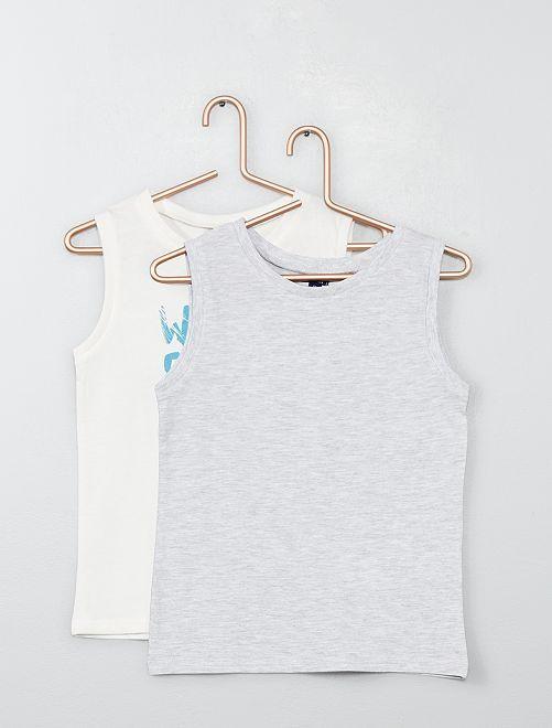 Pack de 2 camisetas de tirantes estampada + lisa                                                                 BLANCO Chico