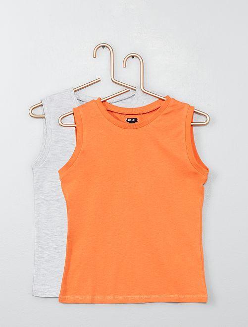 Pack de 2 camisetas de tirantes estampada + lisa                                                                             GRIS Chico