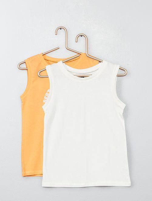 Pack de 2 camisetas de tirantes estampada + lisa                                                                                                     NARANJA Chico