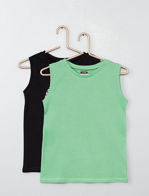 Pack de 2 camisetas de tirantes estampada + lisa                                                                                                     NEGRO Chico