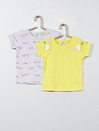 3cff79b49 Niña 0-36 meses - Pack de 2 camisetas 'gato' - Kiabi