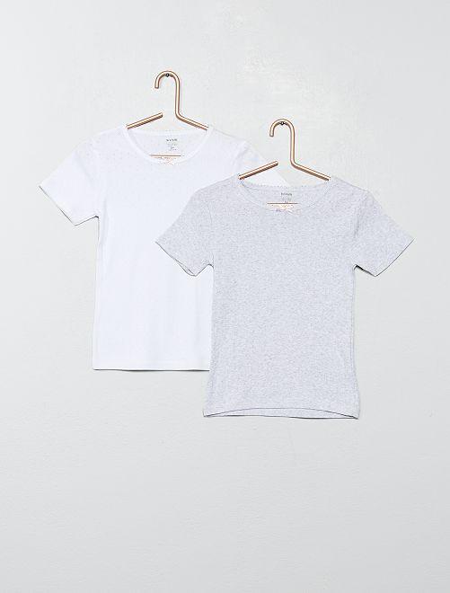 Pack de 2 camisetas interiores de algodón                             GRIS Chica
