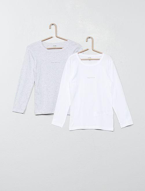 Pack de 2 camisetas interiores de algodón orgánico                                         GRIS/blanco