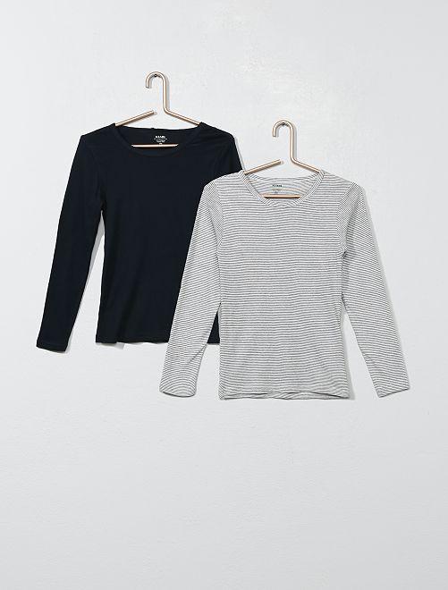 Pack de 2 camisetas interiores de algodón orgánico                                         negro/gris