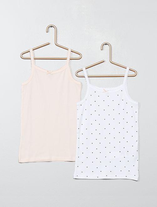 Pack de 2 camisetas interiores de tirantes finos                             ROSA