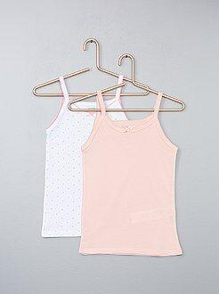 Ropa interior - Pack de 2 camisetas sin mangas de algodón puro - Kiabi