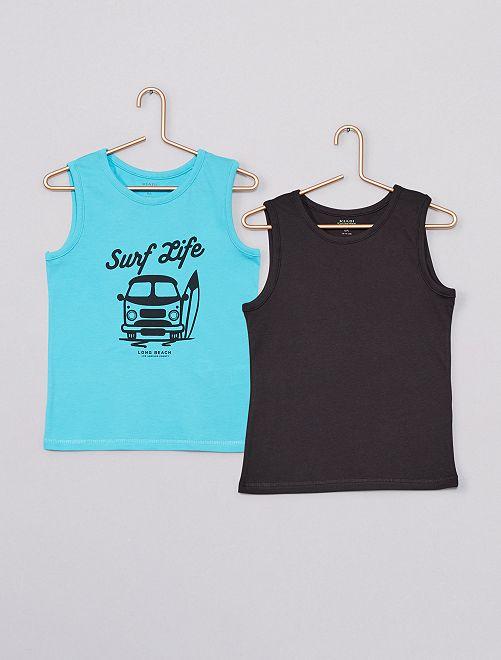 Pack de 2 camisetas sin mangas eco-concepción                                                                             AZUL