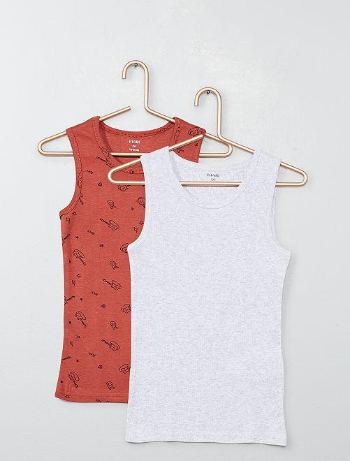 Pack de 2 camisetas sin mangas                                         MARRON Chico